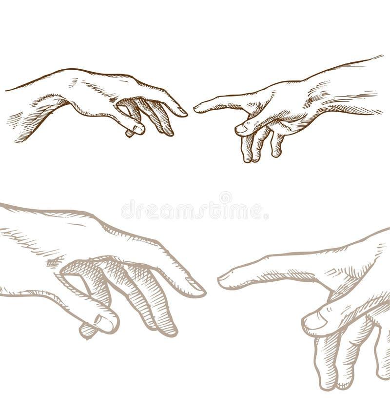 Tworzenie Adam ręki remis royalty ilustracja