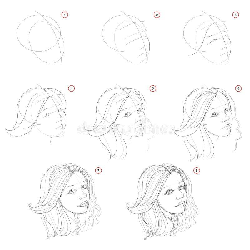 Tworzenie krok po kroku ołówkowy rysunek Strona pokazuje dlaczego uczyć się successively remisu nakreślenie imaginacyjna piękna d ilustracja wektor