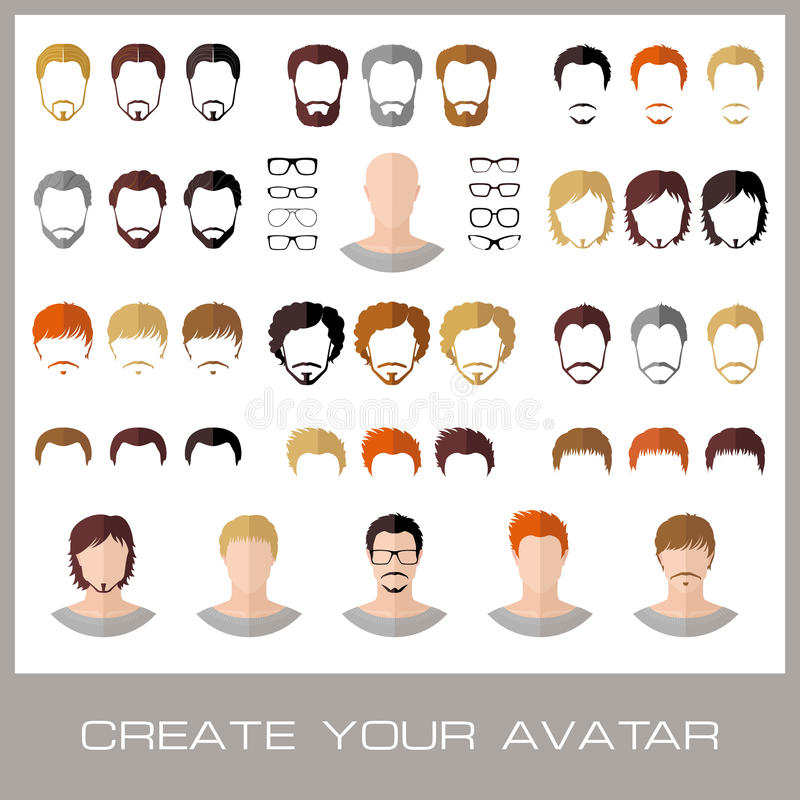 Tworzenie mody samiec avatars ilustracji