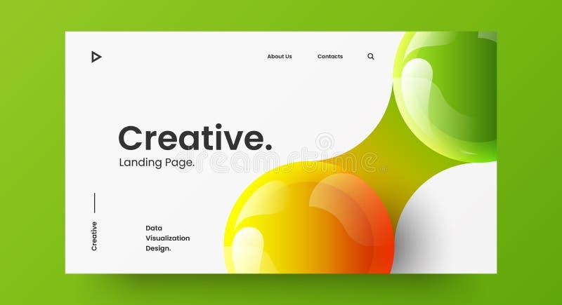 Tworzenie poziomej części ekranu witryny sieci Web do projektowania stron internetowych Kolorowe kulki 3D geometryczny układ bane ilustracji