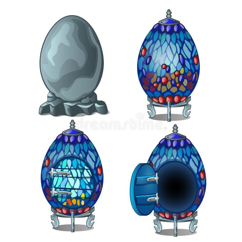 Tworzy czarodziejka dom od kamiennego jajka, cztery scena ilustracji