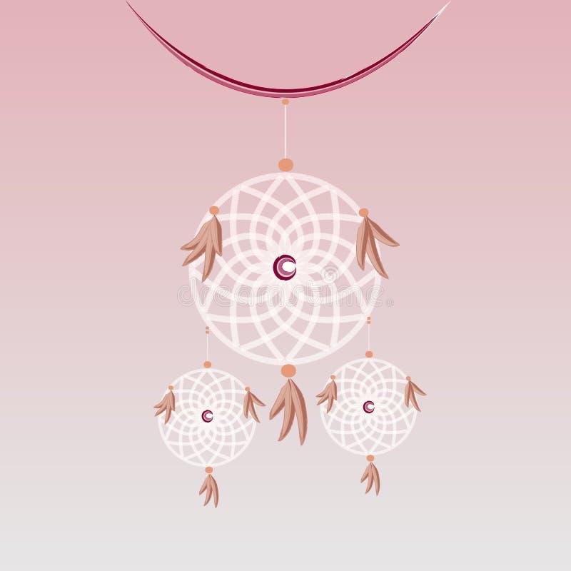 Tworzy słodkiego sen łapacza wiszącego element ilustracja wektor