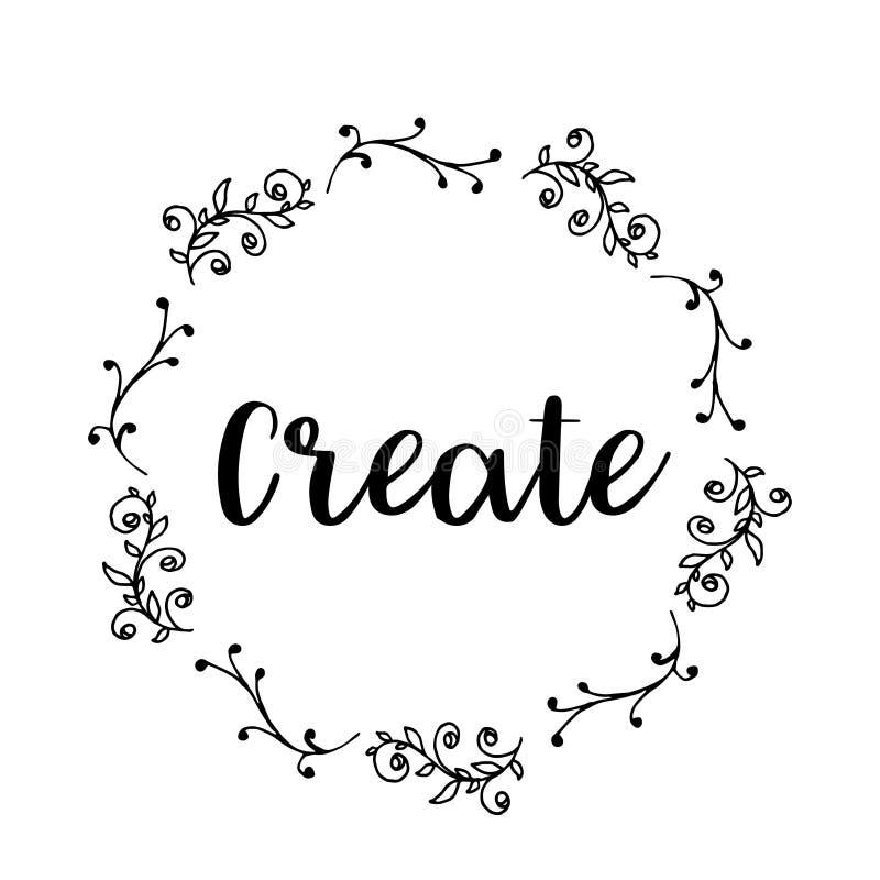 Tworzy teksta kwiatu wianek, ręka rysujący bobek Kartka z pozdrowieniami projekt dla zaproszeń, wycena, blogi, plakaty Wektorowi royalty ilustracja