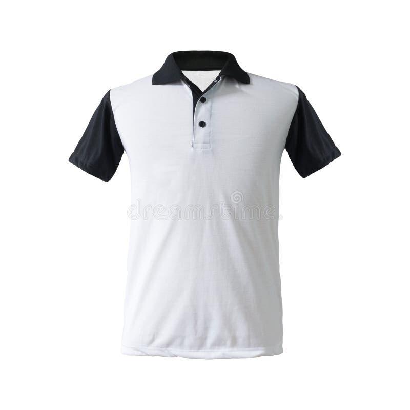 Twotone polo koszula czerni kołnierz na odosobnionym tle z ścinek ścieżką i rękaw Mody odzież w pustej tk tkaninie dla fotografia stock