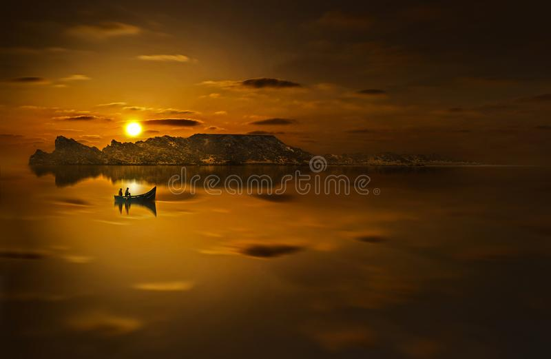 Twp People Riding Boat in Sunset Photo stock images
