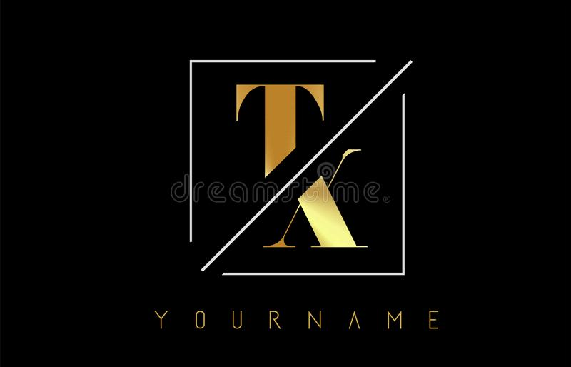 TX Golden Letter Logo with Cutted and Intersected Design. And Square Frame Vector Illustration vector illustration