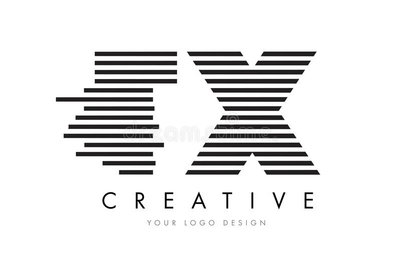 TX T X Zebra Letter Logo Design with Black and White Stripes vector illustration