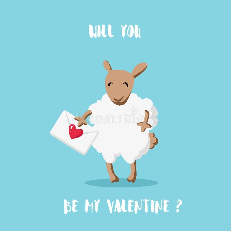 Ty będziesz mój walentynką? Kreskówka cakle z stylu mieszkaniem Szczęśliwa valentine ` s karta ilustracji