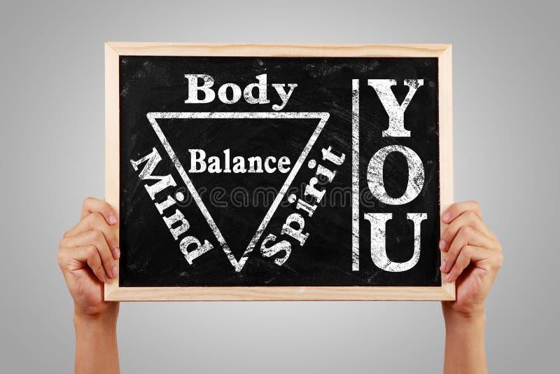 Ty ciało duszy umysłu Spirytusowa równowaga zdjęcie stock