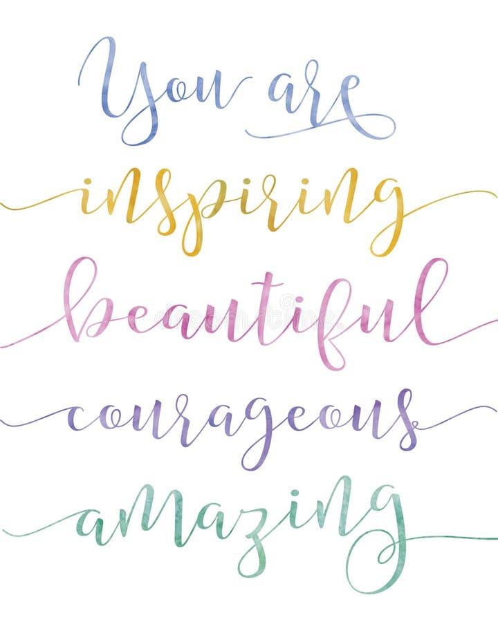 Ty Inspirujesz kaligrafię ilustracja wektor
