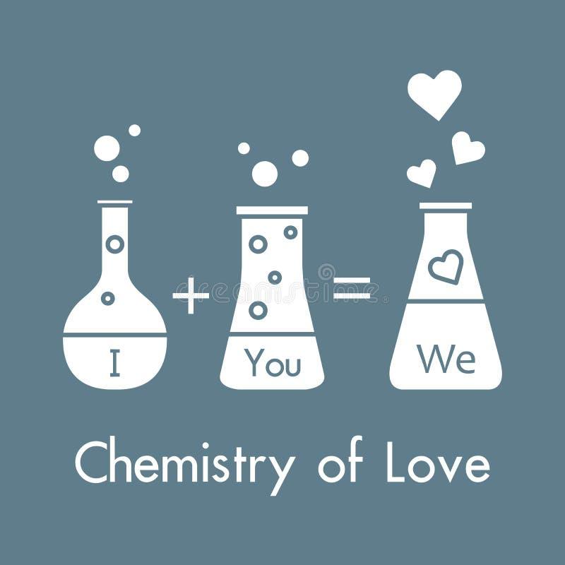 Ty, ja i nasz chemia mi?o?? Projekt dla sztandaru, plakata lub druku, Kartka z pozdrowieniami walentynki ` s dzie? ilustracja wektor
