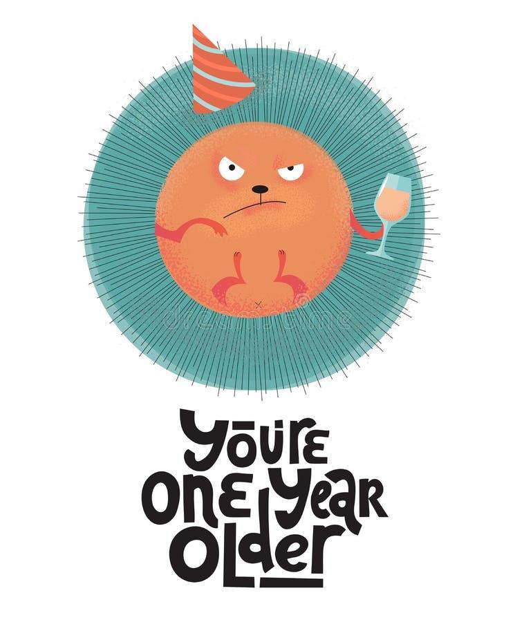 Ty jesteś jeden roku śmiesznego, komicznego, czarnego humoru wyceną z gniewnym round jeżem z wineglass starym, wakacyjna nakrętka ilustracji