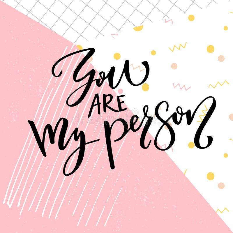 Ty jesteś mój osobą Mówić o miłości, walentynki ` s dnia karty typografia Nowożytna kaligrafia przy abstrakt menchii wystrzałem royalty ilustracja