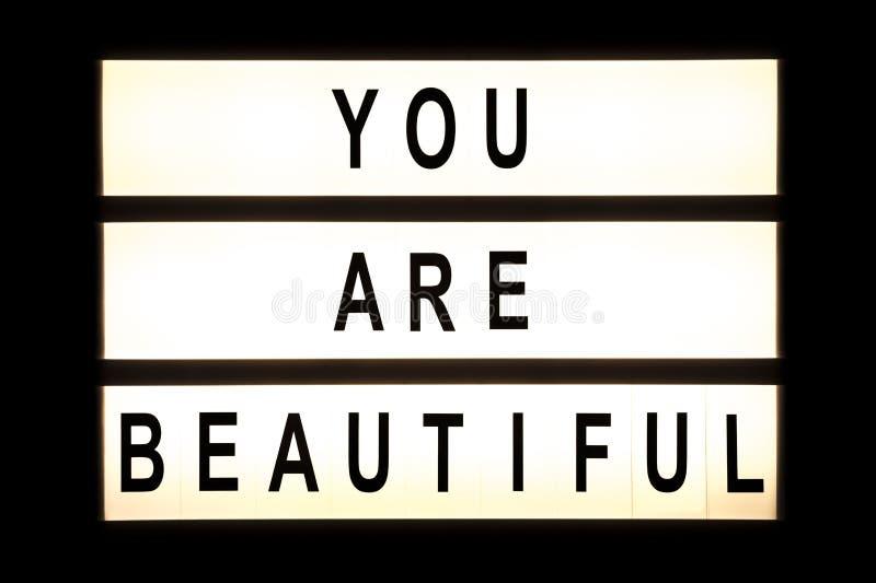 Ty jesteś pięknym wiszącym lekkim pudełkiem zdjęcie stock