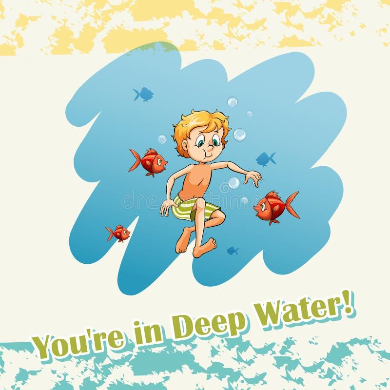 Ty jesteś w głębokiej wodzie ilustracji