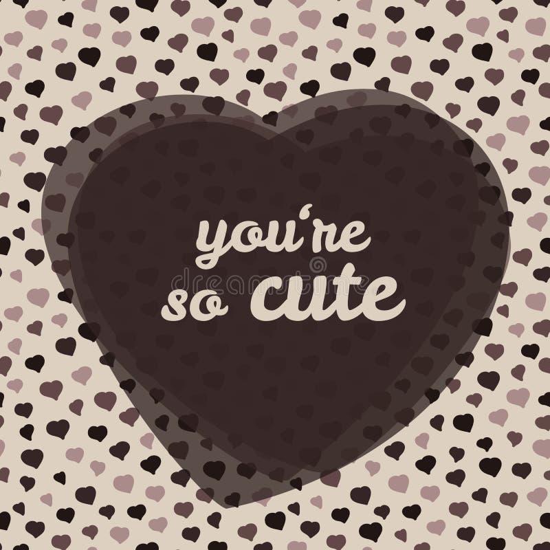 'ty jesteś w ten sposób ślicznym' typografią Walentynka dnia miłości karta również zwrócić corel ilustracji wektora ilustracja wektor