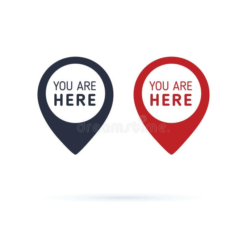 Ty jeste? tutaj szyldowa ikony ocena Miejsce przeznaczenia lub lokacji punktu poj?cie Wa?kowy pozycja markiera projekt ilustracja wektor