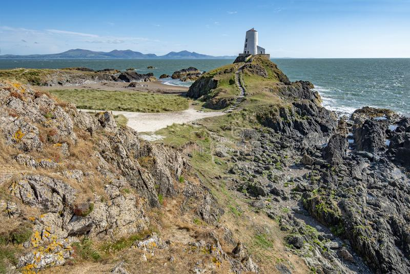 Ty Mawr Lighthouse on the coast of Anglesey stock images