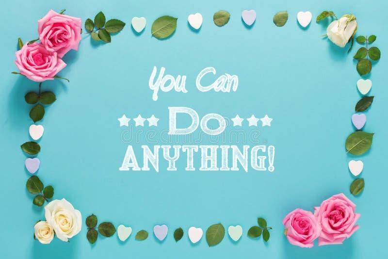 Ty możesz robić cokolwiek wiadomość z różami i liśćmi ilustracji