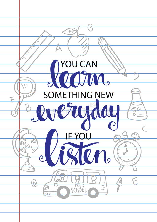 Ty Możesz Uczyć się Coś Nowy Codzienny Jeżeli Ty Słuchasz ilustracji