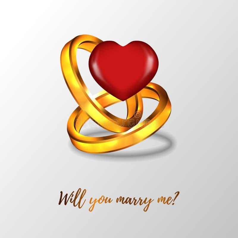 Ty poślubiasz ja proponujesz kobieta 3D pierścionku dwoistego zobowiązanie z hearth kształtem royalty ilustracja