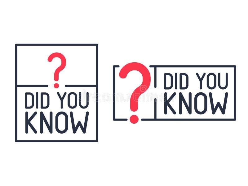 Ty Znałeś znak zapytania etykietkę Płaska ilustracja na białym tle Nowożytna kreskowa ikona wiedzy poczta ilustracji