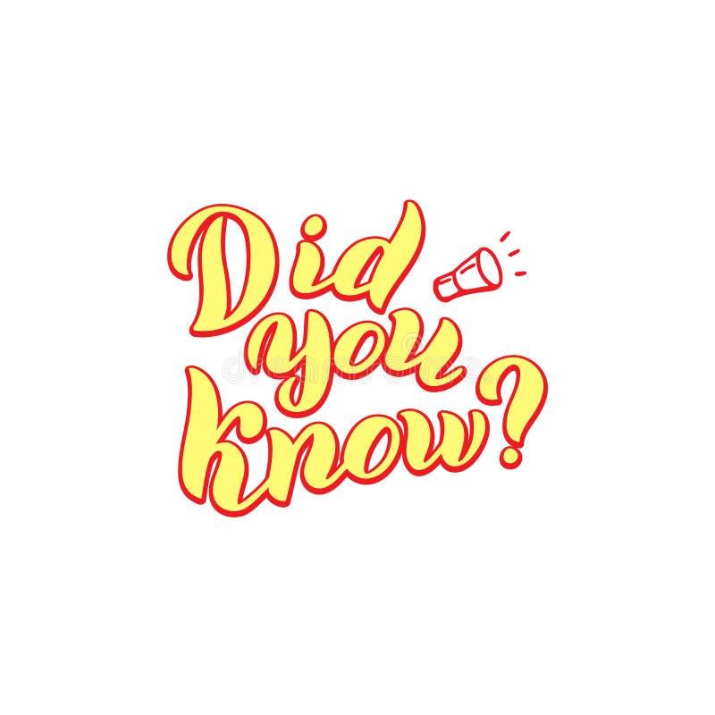 Ty znałeś zwrot Śmieszny literowanie tekst Ciekawa fact odznaka wektor ilustracja wektor