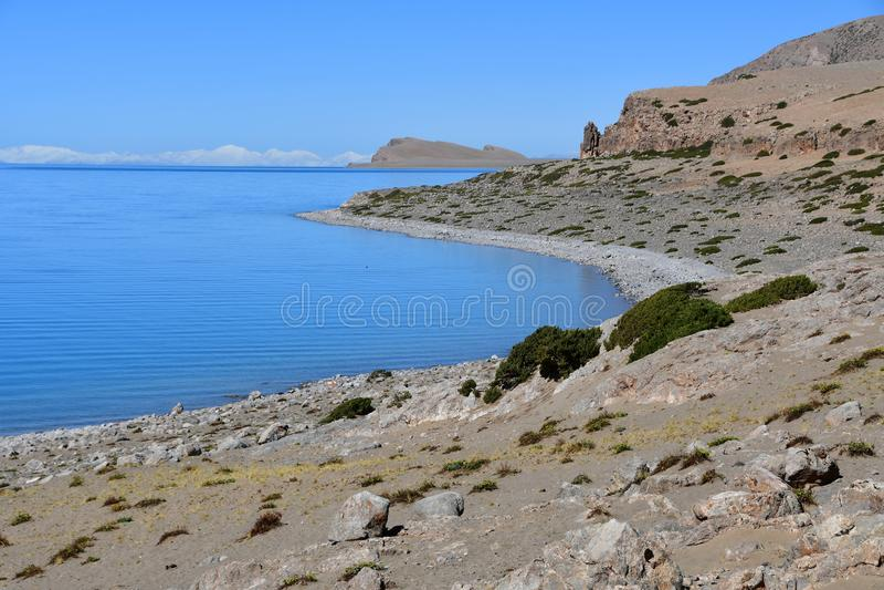 Tybet, święty Tso Nam Tso w lecie jezioro, 4718 metrów nad poziom morza miejsce władzy obraz royalty free