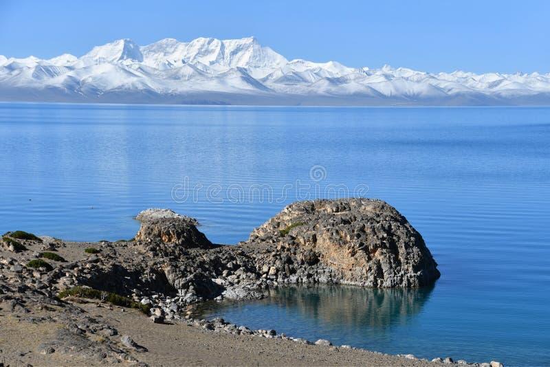 Tybet, góra w lecie, jeziora Tso Nam Nyechen Tangla i Tso obrazy royalty free