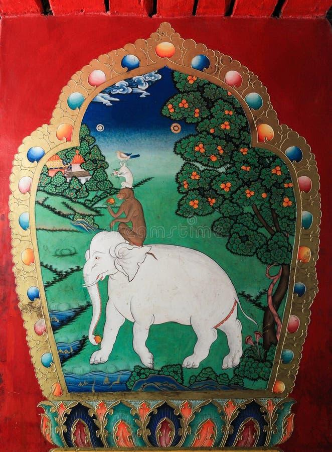 Tybet, Jun 15,2014; Tybetański malowidło ścienne obraz zwana Harmonia zdjęcie stock