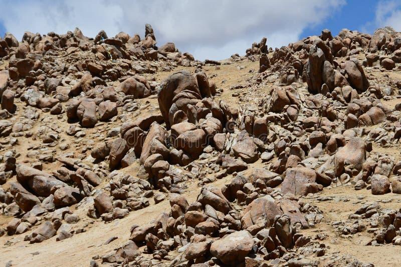 Tybet, mityczny kamienny charakter tworzący z natury fotografia royalty free