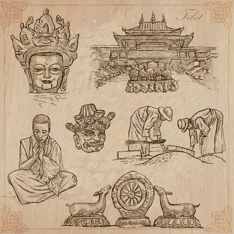 Tybet Podróż - obrazki życie Wektor paczka ilustracja wektor