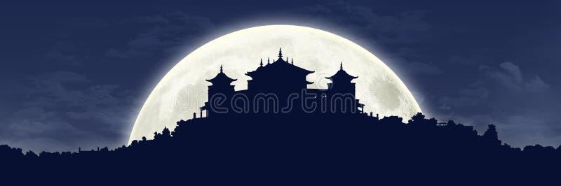 Tybetański monaster przy księżyc w pełni ilustracji