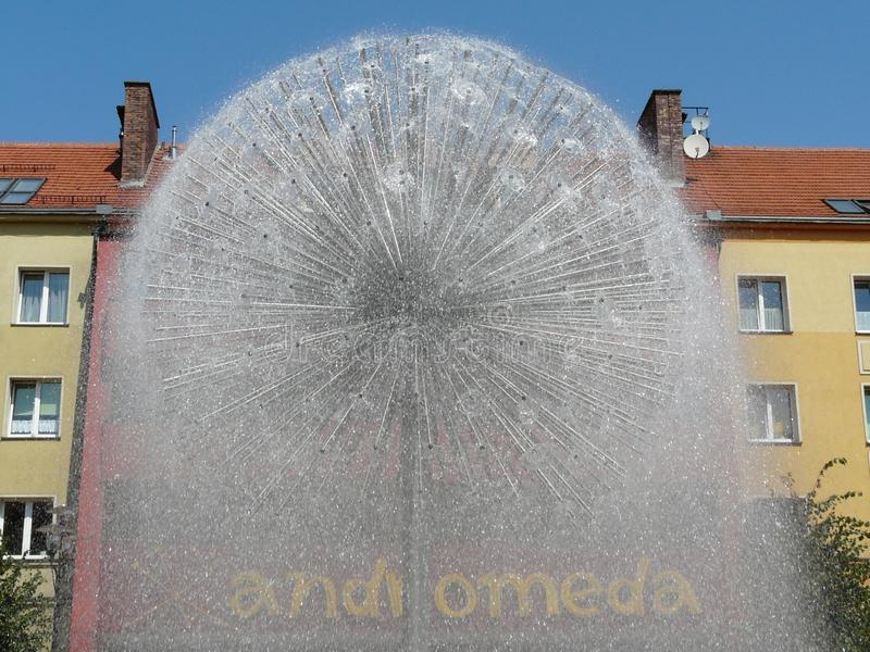 TYCHY , SILESIA , POLAND -Fountain in Baczynski square. TYCHY ,SILESIA ,POLAND-Fountain in Baczynski square in the city center of Tychy royalty free stock image