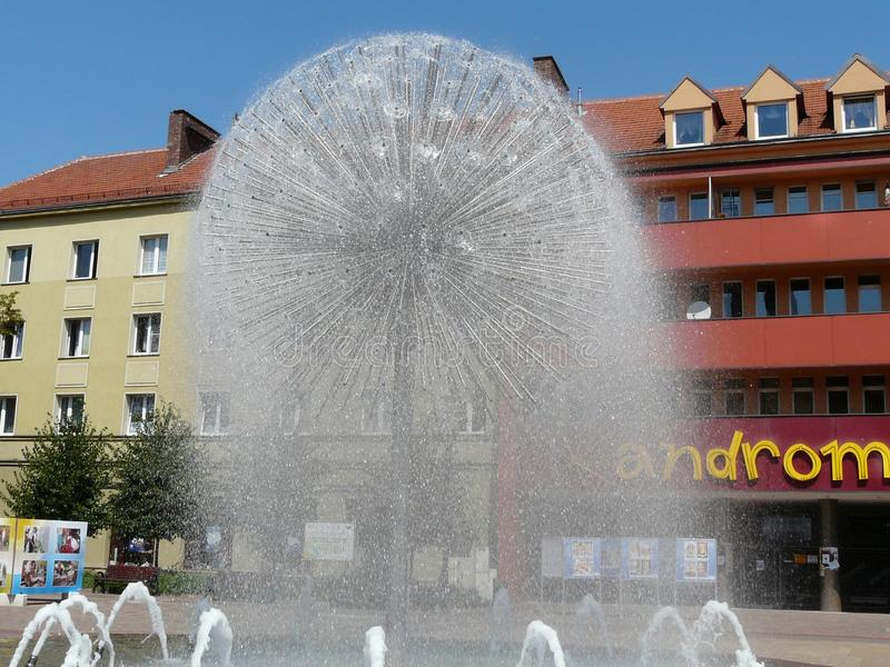 TYCHY , SILESIA , POLAND -Fountain in Baczynski square. TYCHY ,SILESIA ,POLAND-Fountain in Baczynski square in the city center of Tychy royalty free stock images