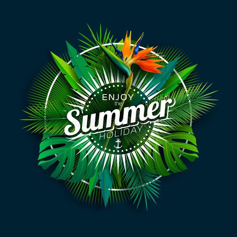 Tyck om designen för sommarferie med papegojablomman och tropiska växter på mörkt - blå bakgrund Vektorillustration med royaltyfri illustrationer