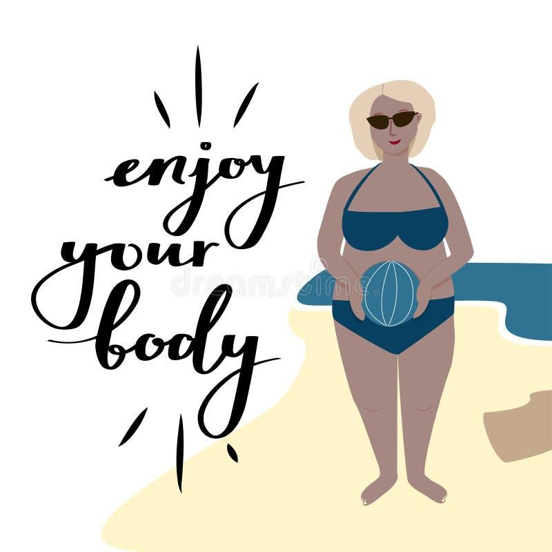 Tyck om din motivational vektorillustration för kroppen Kropprealitetaffisch vektor illustrationer