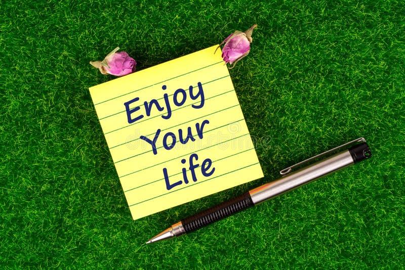 Tyck om ditt liv i anmärkning royaltyfria foton