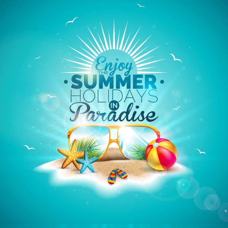 Tyck om illustrationen för sommarferie med typografibokstaven och solglasögon på blå bakgrund för havet Vektordesign med royaltyfri illustrationer