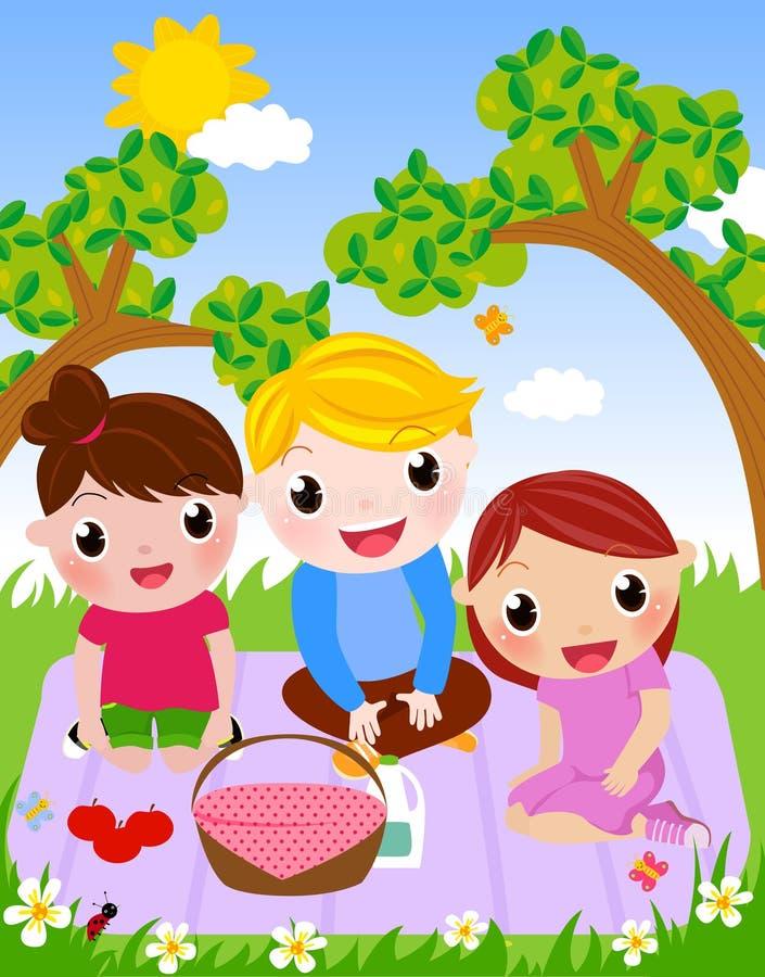 Tyck om picknicken och lyckliga dagar vektor illustrationer