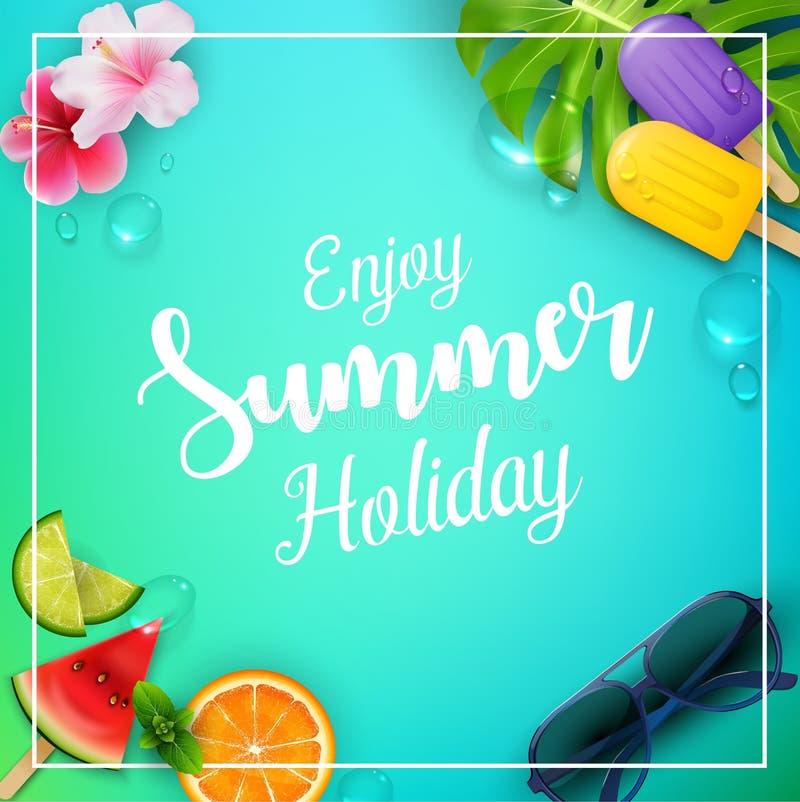 Tyck om sommarferie med glass, vattenmelon, blomman, sidor, apelsinen, limefrukt och solglasögon stock illustrationer