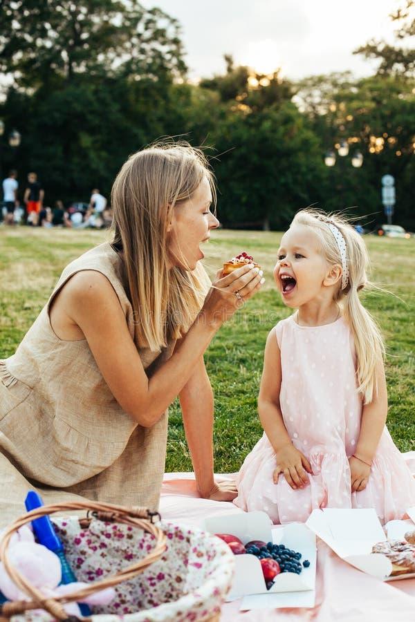 Tycka om familjpicknicken på sommardag royaltyfri bild