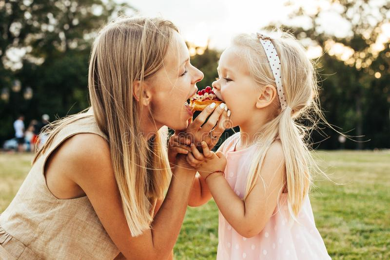 Tycka om familjpicknicken på sommardag royaltyfri fotografi