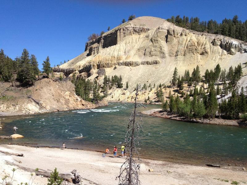 Tycka om Yellowstonet River arkivbild