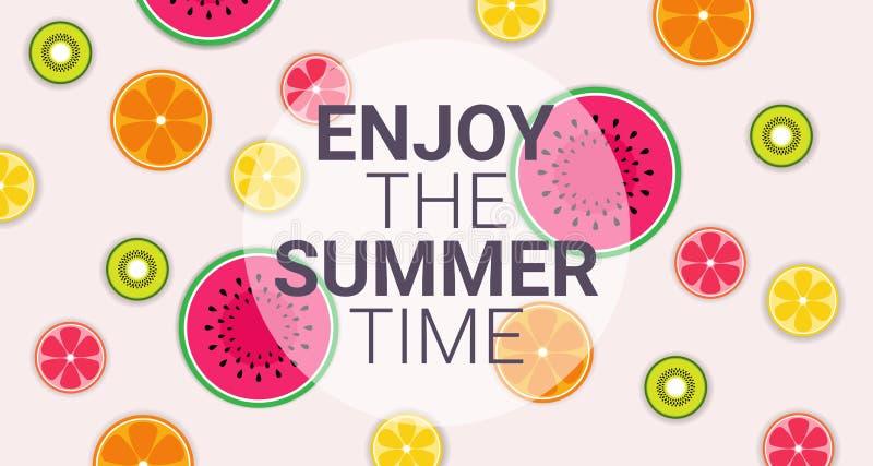 Tycker om bantar den färgrika cirkeln för tropiska frukter organisk sommar över sund livsstil för rosa bakgrund eller begreppskop vektor illustrationer