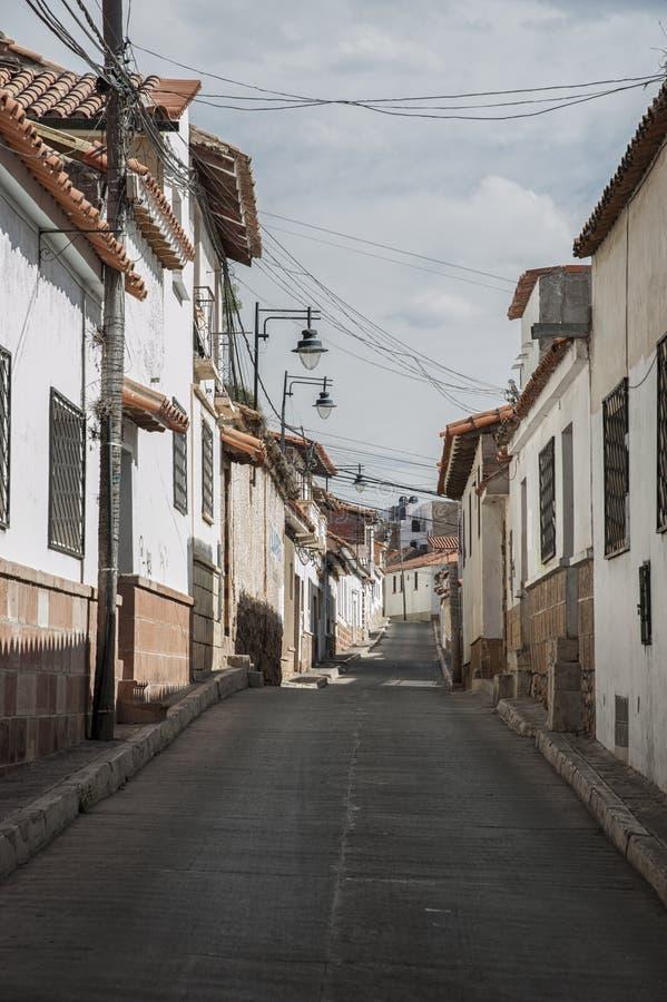 1991 tydligt för stad för kyrkor för bolivia byggnadscapital koloniala kulturella har det viktiga arvet dess för scapescapes för  royaltyfri fotografi
