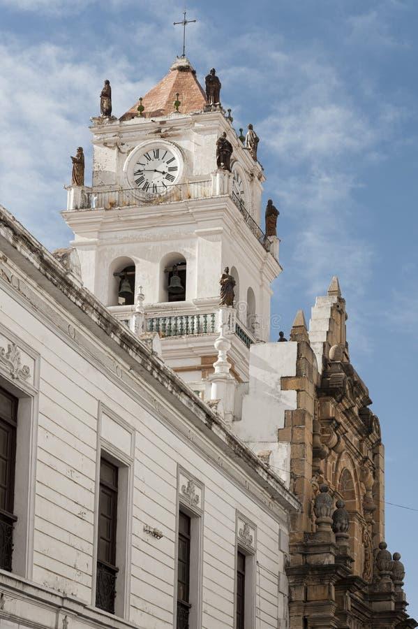 1991 tydligt för stad för kyrkor för bolivia byggnadscapital koloniala kulturella har det viktiga arvet dess för scapescapes för  royaltyfria bilder