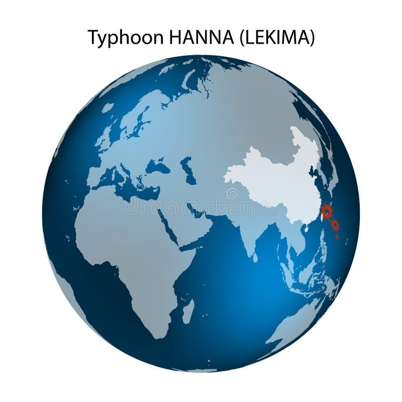 Tyfon Lekima Kina - East Asia territorium gammal v?rld f?r illustration?versikt ocks? vektor f?r coreldrawillustration vektor illustrationer