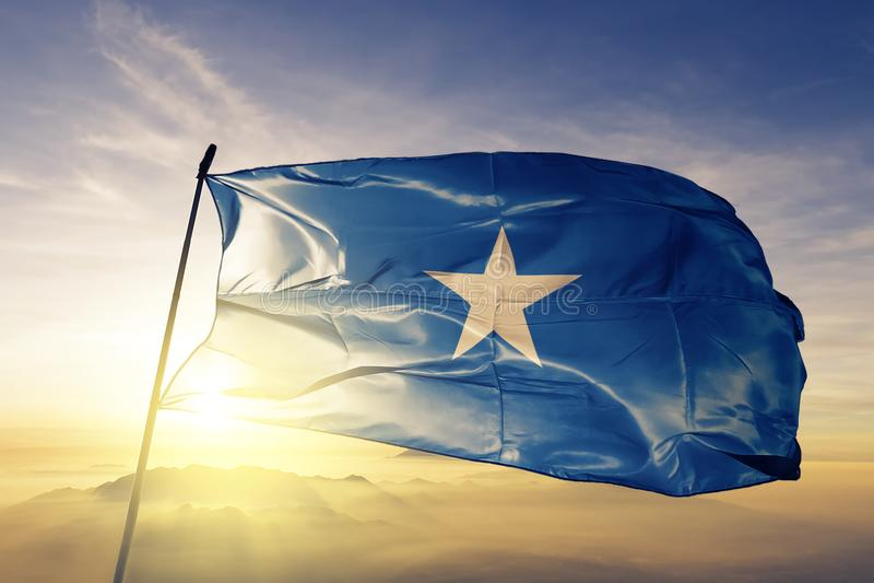 Tyg för torkduk för Somalia nationsflaggatextil som vinkar på överkanten stock illustrationer