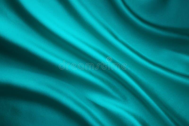 Tyg som vinkar siden- bakgrund, Teal Satin Cloth Crumpled Wave royaltyfri foto